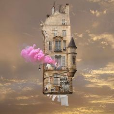 New Flying Houses Hover Above Paris by Laurent Chéhère/photomontage Photomontage, Tina Modotti, Genius Loci, Old Paris, Montage Photo, Colossal Art, Scott Pilgrim, Floating House, Above The Clouds
