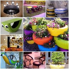 gardens-tire-planters Finally a use for old tires. Someone was resourceful. It would even be cute to use painted tires for when you plant potatoes! IF you plant potatoes LOL Tire Garden, Garden Art, Garden Design, Garden Beds, Terrace Garden, Dream Garden, Tire Pond, Eco Garden, Garden Fences