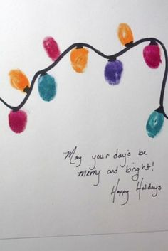 Merry and Bright. This is a perfect idea to use the kids' thumb prints, either for a Christmas card, or just as a picture Diy Christmas Lights, Christmas Card Crafts, Preschool Christmas, Christmas Activities, Winter Christmas, Holiday Crafts, Holiday Fun, Christmas Holidays, Happy Holidays