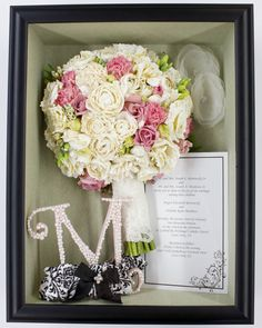 A gorgeous bouquet of pink roses & carnations, with white ranunculus and touches of green foliage. #PreserveYourFlowers    http://www.preserveyourflowers.com/#!shadowboxes/c4so    Phoenix, AZ