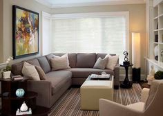 You will find small living room ideas in these photos. We share with you, small living room design, small living room decorating ideas in this photo gallery. Small Living Room Design, Living Room On A Budget, Family Room Design, New Living Room, Small Living Rooms, Living Room Designs, Modern Living, Corner Sofa Living Room Layout, Small Living Room Sectional