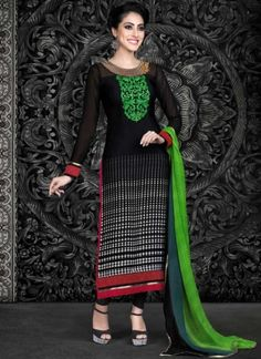 Delightful Black Crape Printed With Red Patch Border Work Churidar Suit