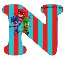 Hermoso Abecedario de los Héroes en Pijamas, o Pj Masks, como más te guste llamarlo. Todas las letras que contienen aCatboy, Gekko y Owlette se encuentran subidas al sitio en perfecta calidad de i… Pj Mask, Mask Party, 3rd Birthday Parties, Peppa Pig, Banner, Symbols, Letters, Alphabet, Cardboard Box Cars