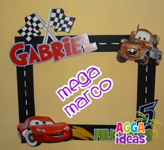 frame for photos Disney Cars Party, Disney Cars Birthday, Race Car Birthday, Race Car Party, 2nd Birthday, Car Themed Parties, Cars Birthday Parties, Lightning Mcqueen Party, Party Frame