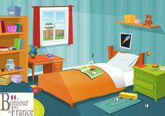 TOUCH this image: La chambre et les prépositions en français
