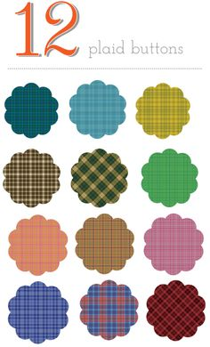 free clipart plaid flower buttons
