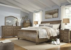 Trishley King Bedroom Set The Trishley 5 Piece King Bedroom set comes with a king size bed frame, dresser, and mirror. Made out of solid pine, this set comes in a weathered light gray finish. The dresser is equipped with 6 dra King Size Bedroom Sets, Wood Bedroom Sets, Rustic Bedroom Furniture, Bedding Master Bedroom, Queen Bedroom, Bedroom Suites, Rustic King Bedroom Set, Furniture Decor, Danish Furniture