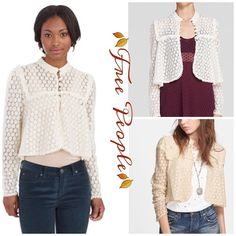 Free People Crochet Lace Jacket Vintage looking jacket by Free People can be worn buttoned up or open as a jacket, yolk front with bronze button closure Free People Jackets & Coats