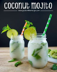 Coconut Mojito - PictureTheRecipe com sprigs of fresh mint 1 2 Limes 1 shot fl oz or Light Rum 1 shot fl oz or Coconut Rum tbsp Cream of Coconut(sweetened) fl oz club Soda Summer Drinks, Fun Drinks, Alcoholic Drinks, Beverages, Spring Cocktails, Refreshing Cocktails, Coconut Rum Drinks, Coconut Rum Mojito Recipe, Bahama Breeze Coconut Mojito Recipe