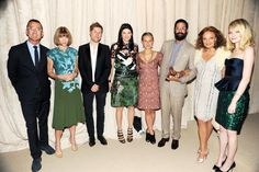 CFDA/Vogue Fashion Fund-2012. The Window, Barneys- Jennifer Meyer, shoe designer Tabitha Simmons and first-prize winner Greg Chait of The Elder Statesman. Emma Stone and fashion-industry heavyweights Steven Kolb, Christopher Bailey, Diane von Furstenberg and Anna Wintour