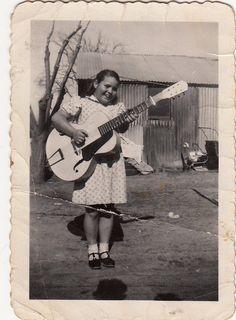 Little girl big guitar!