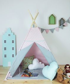 Children's teepee, playtent, tipi, zelt, wigwam, kids teepee, tent, play teepee, high quality wigwam with mat
