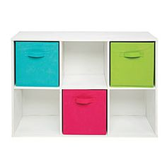6-Cube White Storage Cubby: Or several of these to build a platform for the bed! :)
