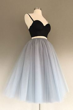 Charming a-line zwei-Stück Grau Tüll kurze Kleid Grad Dresses, Prom Party Dresses, Homecoming Dresses, Women's Dresses, Short Dresses, Fashion Dresses, Prom Gowns, Prom Dress, Long Skirts