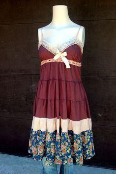 REVIVAL Boho Shabby Chic Fall Dress, Junk Gypsy, Country Girl, Farm Girl