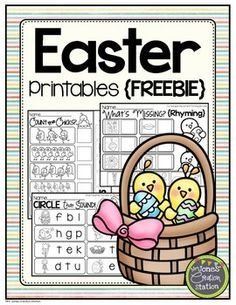 Easter Printables FREEBIE  Enjoy these Easter-themed printables for free!  What's Missing? {Rhyming} Circle that Sound {Initial Sound} Count the Chicks  Get more Easter activities in my Easter Preschool Pack   Graphics by ThistleGirl Designs and Pink Cat Studio  Check out my blog, Mrs.