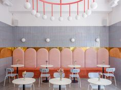 Designers Lera Brumina and Artem Trigubchak collaborated on the Breadway Bakery and cafe in Odessa, Ukraine, that resulted in an eye-popping interior you'll want to hang around in all day. Design Commercial, Commercial Interiors, Cafe Restaurant, Restaurant Design, Bakery Design, Pantone, Brunch Cafe, Cabinet D Architecture, Kids Cafe