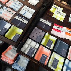 An array of Vartan pocket squares and handkerchiefs displayed at Renegade Craft Fair 2015.