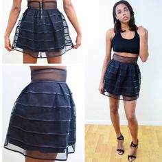 Cage Me Skirt Short faux leather lined skater skirt K & West Co. Skirts Circle & Skater