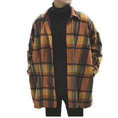 Oversized Flannel Vintage Shirt Men Plaid Long Sleeve Check Shirts For Men Loose Men Button Up Men Shirt Casual Streetwear Modis Oversized Flannel Outfits, Oversized Shirt Outfit, Camisa Oversized, Flannel Outfits Summer, Flannel Shirt Outfit, Mens Flannel Shirt, Shirt Jacket, Checked Shirt Outfit, Flannel Jacket