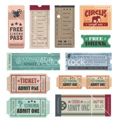 Vintage movie tickets vector image on VectorStock Circus Tickets, Movie Tickets, Event Tickets, Deco Cinema, Circus Background, Cinema Ticket, Travel Tickets, Ticket Design, Wall Stickers Murals