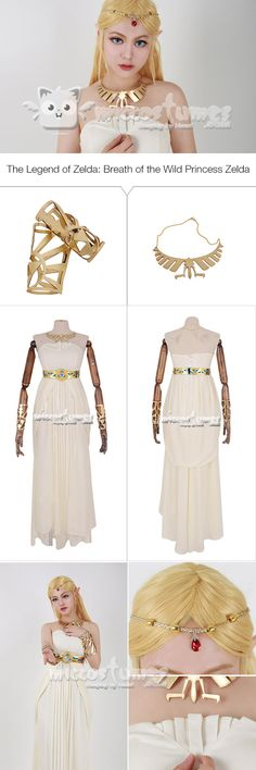 More details of Breath of the Wild Princess Zelda White Dress Cosplay  Costume from Miccostumes. 5f85905ab