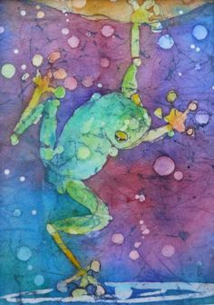 Green Frog, Dipping Toes - Original batik watercolour painting