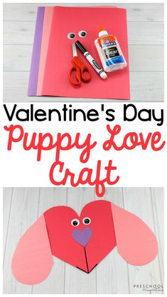 Make this puppy love Valentine's Day craft with the kids! The preschool heart craft is easy to set up and explores symmetry, shapes, and fine motor skills. Valentine's Day Crafts For Kids, Valentine Crafts For Kids, Toddler Crafts, Holiday Crafts, Crafts To Make, Winter Preschool Crafts, Valentines Day Crafts For Preschoolers, Kindergarten Crafts, Preschool Christmas