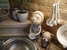 Krásný den přeji Ooak Dolls, Paper Mache, Clay Art, Dog Bowls, Miniatures, Dogs, Handmade, Sculpture, Figurines