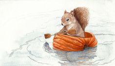 'Row, row, row your boat...' - by monbaum (deviantart) <> (illustrations, art, children, kids, nursery rhymes)