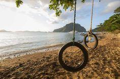 Swings made from old tires in Corong Corong Beach, El Nido Shangri La, El Nido Palawan, Puerto Princesa, Seven Days, Swings, Travel Photos, Philippines, Country Roads, Island