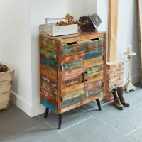Coastal Chic Shoe Cupboard: Unique seaside style, hand made using selected reclaimed and salvaged woods this shoe storage unit also has a drawer. Shoe Storage Cupboard, Wood Shoe Storage, Shoe Shelves, Hallway Storage, Hidden Storage, Shoe Cabinet, Reclaimed Timber, Reclaimed Wood Furniture, Salvaged Wood