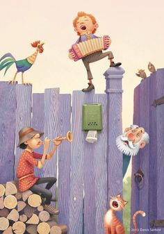 Very cute! love the little details put into the image, Not much of a light source which helps keep the illustration so simple. Nice touch of playfulness with the singing cat and the purple fence.