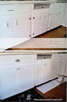 EB Loves Old Houses   How to Add Trim to Old Cabinets - spruce up those old, flat cabinets with this easy DIY trim