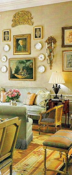 Ginny Magher's Atlanta Living Room. Scalamandre strawberry liserie on stool and sofa pillow