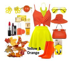 """Colour Combination ~Yellow & orange"" by moniquedawson09123 ❤ liked on Polyvore featuring LE3NO, Christian Louboutin, Fendi, San Diego Hat Co., Casetify, Irene Neuwirth, BaubleBar, Marc by Marc Jacobs, Versace and Yves Saint Laurent"