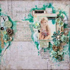 Description par le blog; Chez Belle à cropper: Pop & Colours #3 Ma première page!! My first layout