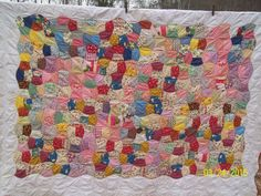 Apple Core Quilt close-up look /  hand pieced & hand quilted  by: Shelia A. Taylor