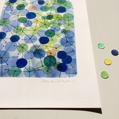 We are connected...  A constellation of blue green circles connected by thin lines.  Large print 11 x 16 inches.