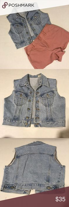VINTAGE JEAN JACKET VEST Vintage JouJou Jean jacket vest  Distressed Collar  Button up front Two button pockets the chest  Light colored Size large   Bundle and save! Prices are always negotiable 💜💙 Jou Jou Jackets & Coats Jean Jackets