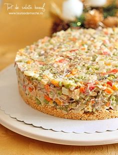 Tort de Salata Boeuf - I Cook Different Other Recipes, Meat Recipes, Gourmet Recipes, Hungarian Recipes, Russian Recipes, Romanian Recipes, Cake Preparation, Good Food, Yummy Food