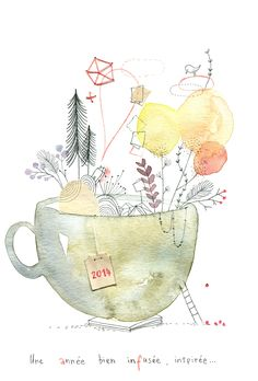 What a whimsical teacup! #watercolour #painting *Cécile Hudrisier*
