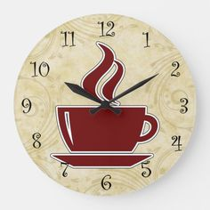 Shop Coffee Kitchen Wall Clocks created by idesigncafe. Wall Decor Design, Wall Clock Design, Kitchen Wall Clocks, Kitchen Decor, Kitchen Ideas, Green Wall Clocks, Lime Green Walls, Basketball Wall, Cheap Home Decor
