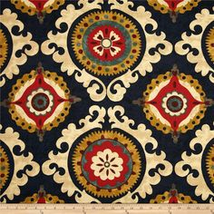 Swavelle/Mill Creek Annuzio Indigo from @fabricdotcom  Screen-printed on textured (similar to bark cloth) cotton fabric, this versatile medium/heavyweight fabric is perfect for window treatments (draperies, valances, curtains and swags), accent pillows, bed skirts, duvet covers, slipcovers, upholstery and tote bags. Colors include gold, burgundy, tan, red, teal, grey and deep navy.