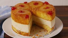 A twist on the classic Pineapple Upside Down Cake. A twist on the classic Pineapple Upside Down Cake.,Gluten Free A twist on the classic Pineapple Upside Down Cake. Köstliche Desserts, Delicious Desserts, Dessert Recipes, Summer Desserts, Dinner Recipes, Food Cakes, Pineapple Cheesecake, Pinapple Upside Down Cheesecake, Pineapple Desserts