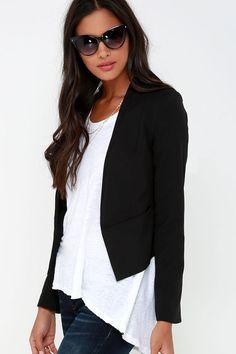 Business Trip Black Cropped Blazer at Lulus.com!