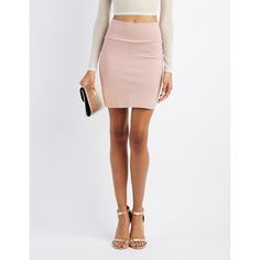 Charlotte Russe Bodycon Mini Skirt ($9.99) ❤ liked on Polyvore featuring skirts, mini skirts, woodrose, short pencil skirt, pencil skirt, sexy pencil skirt, stretchy mini skirts and stretch mini skirt