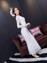 Autumn Ladies Sexy Package Hip Back V-Neck Ankle-length Long Sleeve White Lace Maxi Dress