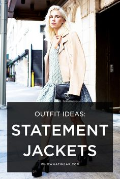 Swap out your classic black leather jacket for a statement color. // outfit ideas