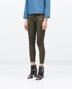 Image 2 of COATED BIKER JEANS from Zara